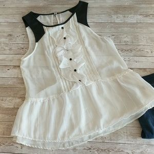 FREE PEOPLE cream ruffle top with black leather